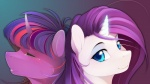 antiander blue_eyes duo equine eyes_closed eyeshadow female feral friendship_is_magic fur hair horn looking_at_viewer makeup mammal multicolored_hair my_little_pony purple_fur purple_hair rarity_(mlp) smile twilight_sparkle_(mlp) two_tone_hair unicorn wallpaper white_fur  Rating: Safe Score: 24 User: anthroking Date: April 15, 2013
