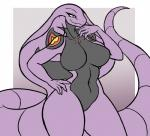 anthro arbok big_breasts big_tail breasts digital_media_(artwork) female grin hand_on_hip huge_breasts navel nintendo nude pokémon rakkuguy reptile scalie simple_background smile snake solo thick_thighs video_games voluptuous wide_hips