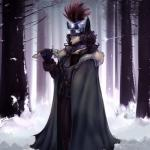 anthro blue_eyes brown_hair canine cloak clothed clothing female forest fox gloves hair helmet littlenapoleon looking_at_viewer mammal melee_weapon outside snow solo sword tree watsup weapon winter  Rating: Safe Score: 1 User: Occam Date: November 29, 2015
