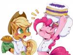 2014 applejack_(mlp) blonde_hair cake chef_hat clothing cowboy_hat cutie_mark duo equine eyes_closed female food freckles friendship_is_magic green_eyes hair hat horse hua113 mammal my_little_pony pie pink_hair pinkie_pie_(mlp) plain_background pony shirt tower white_background   Rating: Safe  Score: 9  User: 2DUK  Date: February 06, 2014