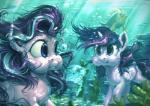 assasinmonkey blue_eyes bubble day detailed_background duo equine eyelashes feathered_wings feathers female feral fish friendship_is_magic hair horn mammal marine my_little_pony nude outside purple_eyes purple_hair starlight_glimmer_(mlp) twilight_sparkle_(mlp) underwater water winged_unicorn wings