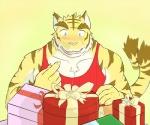 anthro big_muscles birthday blue_eyes clothing feline fur gift male mammal morenatsu muscular muscular_male simple_background solo surprise tiger torahiko_(morenatsu)  Rating: Safe Score: 0 User: Kod Date: June 24, 2015
