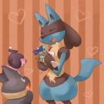 <3 ambiguous_gender anthro canine ear_bow eyes_closed feral lucario mammal mime_jr. munchlax nintendo pattern_background pokémon simple_background spikes suppu video_games