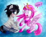 2013 adventure_time black_hair blue_eyes clothing crossover death_note duo equine female friendship_is_magic hair horn horse l_(death_note) male mammal my_little_pony open_mouth ponification pony princess_bubblegum shocked sweat tiara winged_unicorn wings zorbitas   Rating: Safe  Score: 11  User: anthroking  Date: November 27, 2013