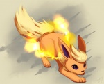 ambiguous_gender cute eeveelution feral fire flareon grey_background nintendo pokémon pokémon_(species) purple_eyes simple_background solo unknown_artist video_games