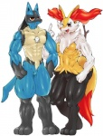 abs anthro anthrofied biceps braixen breasts brown_eyes claws digitigrade duo fangs featureless_crotch female lucario male muscular muscular_female muscular_male nintendo one_eye_closed open_mouth pecs pokémon shiron_(artist) simple_background standing vein video_games white_background wink  Rating: Safe Score: 4 User: chdgs Date: January 04, 2016