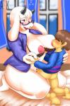age_difference anthro big_breasts blush bra breasts brown_hair caprine clothed clothing duo erection eyes_closed eyewear female fur glasses goat hair hi_res human human_on_anthro interspecies larger_female male male/female mammal mature_female mother nipple_suck open_shirt parent penetration penis protagonist_(undertale) pussy red_eyes size_difference smaller_male sucking suckling toriel undertale underwear vaginal vaginal_penetration video_games voluptuous white_fur wonkake  Rating: Explicit Score: 19 User: Pasiphaë Date: April 04, 2016