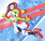 anthro breasts clothing cute dress elpatrixf female footwear gardevoir green_hair hair legwear nintendo open_mouth pokémon red_eyes shoes shorts skirt socks solo tennis_ball tongue video_games  Rating: Safe Score: 6 User: DeltaFlame Date: September 26, 2015