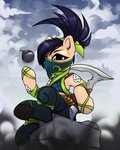 2020 absurd_res akali_(lol) black_hair bomb clothed clothing detailed_background earth_pony equid equine explosives female feral fully_clothed hair hi_res hitbass horse league_of_legends mammal melee_weapon my_little_pony polearm ponification pony riot_games scythe sitting solo tan_body tossing veil video_games weapon