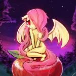anthro apple bat bite chest_tuft covering covering_self crouching cute digital_media_(artwork) ears_back equine fangs female flat_chested flutterbat_(mlp) fluttershy_(mlp) food friendship_is_magic fruit hair horse long_hair lumineko mammal membranous_wings my_little_pony night nude pink_hair pony red_eyes slit_pupils solo three-quarter_view tuft wings young