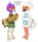 animal_crossing anthro avian beak biped bird black_beak bottomless brown_feathers brown_markings brown_stripes clothed clothing crane cranston_(animal_crossing) crest digital_drawing_(artwork) digital_media_(artwork) digitigrade duo english_text eye_contact feathered_wings feathers featureless_crotch fluffy fluffy_tail front_view full-length_portrait green_feathers green_pheasant guide_lines half-closed_eyes hands_together holding_arm male markings multicolored_feathers multicolored_skin nintendo pheasant phil_(animal_crossing) portrait purple_feathers red_feathers red_markings simple_background slit_pupils smile standing striped_skin stripes tan_beak tan_feathers tan_markings text video_games white_background white_feathers white_markings white_stripes winged_arms wings wolfienoodlechu