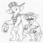 age_difference animal_genitalia anthro balls barefoot bottomless brother brother_and_sister clothed clothing costume cub cute_fangs digitigrade duo eyewear female front_view frying_pan greyscale halloween headgear holidays mae_marten male mammal marten mizzyam monochrome mustelid pencil_(artwork) regi_marten sad sheath sibling sister size_difference sunglasses traditional_media_(artwork) young  Rating: Explicit Score: 3 User: Circeus Date: February 04, 2016