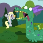 amber_eyes blonde_hair bush crackle_(mlp) cutie_mark derpy_hooves_(mlp) dragon duo equine eyelashes female feral food friendship_is_magic gem grass hair horn mammal muffin my_little_pony outside pegasus red_eyes teeth tongue tree veggie55 wings wood   Rating: Safe  Score: 10  User: 2DUK  Date: March 30, 2012