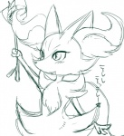 ambiguous_gender blush braixen canine cute fennec fire fox japanese_text kiriya mammal monochrome nintendo open_mouth pokémon simple_background sketch solo standing stick text video_games  Rating: Safe Score: 1 User: DeltaFlame Date: September 24, 2015