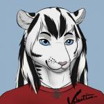 alexander_valentine anthro blue_eyes cute feline hybrid jewelry mammal mushbun necklace siberian_liger simple_background solo