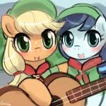 applejack_(mlp) camp coloratura_(mlp) cub duo equine female friendship_is_magic guitar horse lumineko mammal musical_instrument my_little_pony pony rara young  Rating: Safe Score: 10 User: lumineko Date: November 23, 2015