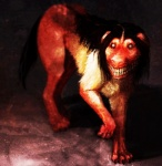 ambiguous_gender big_smile black_hair canine color_contrast creepy creepypasta digitigrade dog fur grotesque hair high_contrast mammal nightmare_fuel saturated smile smile.dog teeth white_fur   Rating: Safe  Score: 5  User: SexyTea  Date: January 16, 2014