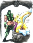 3_toes all_fours anthro anus balls canine clothed clothing colored_pencil_(artwork) digimon digiphilia duo elbow_gloves eyes_closed female fox fur gloves human human_on_anthro humanoid_penis interspecies male male/female mammal mortal_kombat oral penis pussy raised_tail renamon reptile_(mortal_kombat) sawblade_(artist) sex simple_background standing toes traditional_media_(artwork) video_games white_background white_fur yellow_fur  Rating: Explicit Score: -2 User: Finchmaster Date: January 04, 2014
