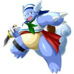 anthro claws costume holding_knife knife kuroma looking_at_viewer nintendo open_mouth pokémon pose reptile sailor_hat sailor_outfit scalie scarf shell simple_background smile turtle video_games wartortleRating: SafeScore: 2User: intelligent_turretDate: January 06, 2017