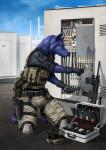 2017 5_fingers anisis anthro armor assault_rifle black_nose black_topwear blue_fur briefcase camo camo_clothing canine chest_rig clothed clothing day digital_media_(artwork) dog electricity eyewear fur gloves goggles green_bottomwear green_topwear gun handgun helmet holster knee_pads kneeling male mammal on_ground outside pliers purple_fur ranged_weapon rifle shadow sky soldering_iron solo tool_belt toolbox tools weaponRating: SafeScore: 5User: MillcoreDate: July 19, 2018