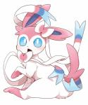 2017 ambiguous_gender blue_eyes blush cute dagasi daww eeveelution feral fur hi_res looking_at_viewer nintendo open_mouth paws pink_fur pokémon pokémon_(species) ribbons simple_background solo sylveon video_games white_background white_fur