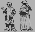 anthro clothing coach genitals giant_panda gloves handwear hi_res hijackerdraws_(artist) hiji male mammal monochrome penis solo ultimate_mating_league uniform ursid
