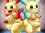 big_breasts big_thighs blush breasts duo female gotobeido hand_holding looking_at_viewer minun nintendo nude obese overweight plusle pokémon standing video_games   Rating: Questionable  Score: 0  User: Neitsuke  Date: December 26, 2014