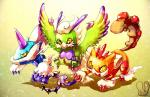 ambiguous_gender avian claws feathered_wings feathers feline feral fur group hair hi_res horn landorus legendary_pokémon looking_at_viewer mammal nintendo pokémon sa-dui talons thundurus toe_claws tornadus video_games wings yellow_eyes