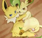 anus balls blue_eyes blush brown_eyes censored duo eeveelution feral frown hug itameshi jolteon leafeon lying male male/male nintendo on_side open_mouth pawpads penis pokémon tears video_games  Rating: Explicit Score: 10 User: RioluRiku Date: May 01, 2016
