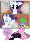 absurd_res anthro blue_eyes blush comic crossdressing cutie_mark dialogue dragon duo embarrassed english_text equine eyes_closed eyeshadow fangs female feral friendship_is_magic fur girly green_eyes hair hi_res high_heels horn legwear makeup male mammal my_little_pony nurse nurse_uniform open_mouth purple_hair purple_scales pyruvate rarity_(mlp) sitting slit_pupils spike_(mlp) spines stockings text undressing unicorn white_fur   Rating: Safe  Score: 11  User: Jatix  Date: May 12, 2014