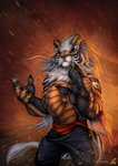2020 5_fingers abstract_background action_pose amber_eyes anthro arm_tuft baggy_pants belly_scales biped black_body black_claws black_fur black_nose black_scales black_stripes black_tail bottomwear brown_body brown_horn brown_scales cheek_tuft claws clothed clothing curved_horn digital_media_(artwork) dirt dragon elbow_tufts facial_tuft felid fingers front_view frown fur fur_tuft furred_dragon hair hi_res horn hybrid jackrow long_hair looking_at_viewer male mammal multicolored_body multicolored_fur multicolored_scales multicolored_tail neck_tuft pantherine pants particles portrait pose pupils sash scales scalie simple_background slit_pupils solo standing striped_body striped_fur stripes tail_tuft three-quarter_portrait tiger topless tuft two_tone_body two_tone_fur two_tone_scales warm_colors white_body white_fur white_hair white_tail white_tuft wind