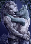 anthro blue_fur canine clothed clothing couple detailed duo embrace feline fur gay grey_fur karmakat kissing lion love male mammal night rukis shirt side_view sky standing tank_top tattoo topless white_fur wolf   Rating: Safe  Score: 13  User: Grinard  Date: December 03, 2013