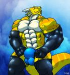 abs anthro balls biceps big_muscles bulge clothed clothing dragon gloves half-dressed horn looking_at_viewer male muscles orange_eyes orange_skin pecs rackun reptile rubber scales scalie smile solo speedo standing stripes swimsuit teeth toned topless underwear white_skin yellow_skin  Rating: Questionable Score: 4 User: Xolani Date: May 18, 2015