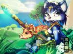 blue_fur blue_hair canine dinosaur female fox fur grass green_eyes greenary hair headband krystal mammal nintendo outside plant plants polearm sauropod scalie sea staff star_fox theoriginalmistajonz tree video_games water   Rating: Safe  Score: 3  User: NekoBot  Date: February 23, 2014