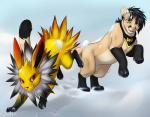 2015 bandanna blue_eyes canine duo eeveelution feline feral flux_the_jolteon fur jolteon mammal nintendo paws pokémon red_eyes snow tartii tartii_(character) tongue video_games yellow_fur  Rating: Safe Score: 0 User: Ethandarkeco Date: November 17, 2015
