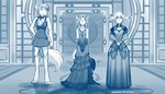 2020 accessory anthro barefoot basitin blue_and_white blush bottomwear bow_tie bracelet braided_hair breast_size_difference breasts canid canine canis chest_tuft cleavage clothed clothing conditional_dnp cosplay crossdressing digitigrade evening_dress female final_fantasy final_fantasy_vii flower flower_in_hair fox gloves_(marking) group hair hair_accessory hand_on_hip hi_res inside jewelry keidran keith_keiser laura_(twokinds) looking_aside male mammal markings minidress miniskirt monochrome natani necklace plant sketch skirt square_enix tom_fischbach tuft twokinds video_games webcomic wolf
