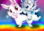 anthro blue_hair cherry_blossom chest_tuft cute dancing duo feline female fur granite_(jewelpet) hair jewelpet jewelry lion long_ears male mammal mrsorange necklace paws plant ruby_(jewelpet) sanrio semi-anthro standing tuft white_fur white_lion