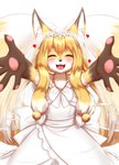 2020 5_fingers <3 accessory alternate_version_at_source anthro bell black_nose blonde_hair blush bodily_fluids breasts bride brown_body brown_fur canid canine chest_tuft claws clothing crying cute_fangs dipstick_ears dipstick_tail dress eyes_closed female fingers fluffy fluffy_tail fox frilly frilly_clothing fur glistening glistening_hair gloves_(marking) hair hair_accessory happy hi_res horokusa0519 inner_ear_fluff jingle_bell kemono long_hair mammal markings multi_tail multicolored_body multicolored_ears multicolored_fur multicolored_hair multicolored_tail open_mouth pawpads portrait simple_background small_breasts smile solo tears tears_of_joy three-quarter_portrait tongue translucent translucent_clothing tuft wedding_dress wedding_veil white_background white_body white_clothing white_fur white_hair yellow_body yellow_fur