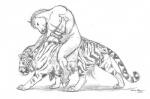 "animal_genitalia balls ebonytigress equine erection feline feline_penis feral harness horse horsecock male male/male mammal masturbation monochrome penis plain_background tiger white_background  Rating: Explicit Score: 3 User: Vinea Date: July 03, 2015"""