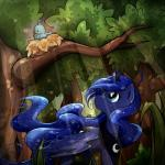 2014 avian bird birds_nest blue_eyes bush crown cutie_mark duo equine female feral forest friendship_is_magic grass hair horn light mammal musical_note my_little_pony nature necklace outside princess_luna_(mlp) secret-pony singing sparkles tree winged_unicorn wings  Rating: Safe Score: 16 User: 2DUK Date: May 25, 2014""