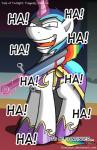2015 blood blue_hair comic donzatch english_text equine friendship_is_magic fur hair horn horse laugh magic male mammal melee_weapon multicolored_hair my_little_pony pony rainbow_blood shining_armor_(mlp) solo sword teeth text unicorn weapon white_fur  Rating: Safe Score: 2 User: EurynomeEclipseVII Date: September 03, 2015