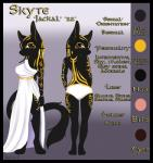 2016 anthro anubian_jackal black_fur breasts brown_eyes canine clothed clothing dress egyptian female fur hair hi_res jackal mammal model_sheet nukafoxy3 panties simple_background skyte_kirani solo standing tattoo underwear  Rating: Questionable Score: 8 User: Skyte_Kirani Date: April 04, 2016