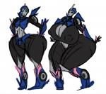 alien arcee autobot big_breasts big_butt blue_eyes breast_expansion breasts butt butt_expansion female huge_breasts huge_butt hyper hyper_breasts kevemperor machine nipples robot sketch solo standing thick_thighs transformers transformers_prime wide_hips
