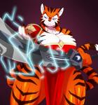 2016 anthro big_breasts blue_eyes breasts claws clothing feline female hi_res holding_object inner_ear_fluff mammal melee_weapon solo sssonic2 stripes sword tiger weapon  Rating: Safe Score: 4 User: ultragamer89 Date: February 06, 2016