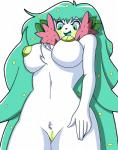 2017 absurd_res anthro areola big_breasts blush breasts female flora_fauna flower fur garroshdnw green_eyes green_hair green_nipples hair happy hi_res huge_breasts inverted_nipples legendary_pokémon low-angle_view mammal nintendo nipples nude plant pokémon pokémon_(species) pokémorph pussy shaymin shiny_pokémon smile solo video_games