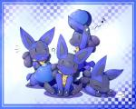 ? ambiguous_gender black_eyes black_fur blue_fur blush canine cute day-t eyes_closed fur looking_at_viewer lucario lying mammal nintendo open_mouth pokémon sitting solo spikes video_games   Rating: Safe  Score: 12  User: Finchmaster  Date: January 23, 2014