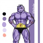 abs blush clothed clothing front_view hands_on_hips humanoid looking_away machoke male muscular nintendo pecs pokémon pokémon_(species) pose smile solo standing topless video_games せいとら