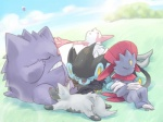 4:3 ambiguous_gender cloud drifloon eyes_closed feline feral gengar grass group hiroshi_nakajima hyena luxray mammal nintendo outside pokémon pokémon_(species) poochyena sky sleeping video_games weavile zangoose