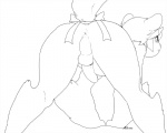all_fours anus ass_up backsack balls black_and_white blush butt digital_drawing_(artwork) digital_media_(artwork) erection hi_res line_art looking_back male milkcrown monochrome nude penis presenting presenting_hindquarters raised_tail solo