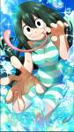 5_fingers amphibian animal_humanoid asui_tsuyu bangs big_eyes black_eyes black_hair blush clothing eyelashes female footwear frog_humanoid front_view hair hair_rings humanoid light_skin long_hair long_tongue looking_at_viewer my_hero_academia official_art one-piece_swimsuit pale_skin pink_tongue sandals solo swimsuit tongue tongue_out unknown_artist water wet